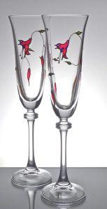 5. Fuschia Lead Crystal Flutes-2